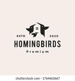 bird house hummingbird hipster vintage logo vector icon illustration