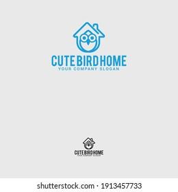 Bird house logo design vector template