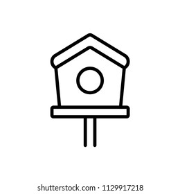 Bird house outline icon illustration isolated vector sign symbol