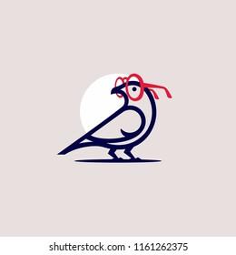 Bird  with huge glasses. Bird geek logo