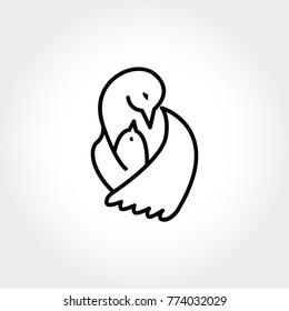 Bird hugs its little nestling. Logo of bird and nestling