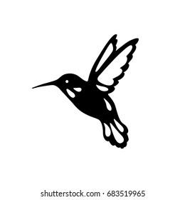 Bird of hummingbirds, outline, black shadow, laser cutting.