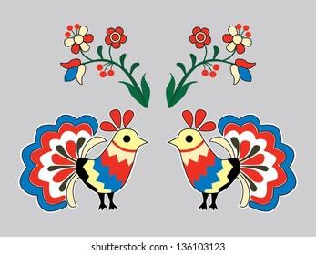 Bird hungarian folk vector illustration
