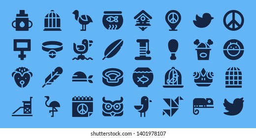 bird icon set. 32 filled bird icons. on blue background style Collection Of - Feeder, Peace, Hedgehog, Vigilance, Bird cage, Collar, Feather, Flamingo, Ostrich, Seagull, Pirate