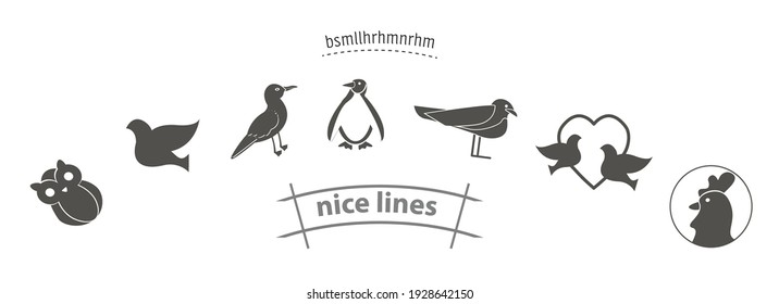 bird icon set with penguin, owl, ostrich, stork, cock pigeons vector icon set, birds simple black icon