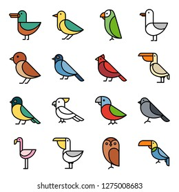 Bird icons pack. Isolated bird symbols collection. Graphic icons element
