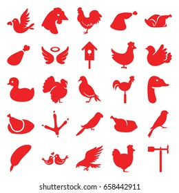 Bird icons set. set of 25 bird filled icons such as chicken, dove, eagle, footprint of  icobird, parrot, sparrow, turkey, goose, duck, wings, meat leg, weather vane