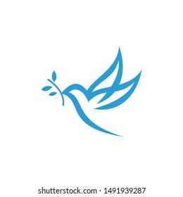 Bird With Leaf Logo Template