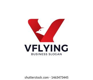 Bird - Letter V logo design. Modern icon design V letter shape with bird silhouette. Flying bird in V letter shape. Creative logo template