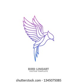 Bird Line art Mono illustration vector Design template. Suitable for Creative Industry, Multimedia, entertainment, Educations, Shop, and any related business