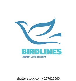 Bird lines - vector logo template concept illustration. Abstract dove sign. Design element.