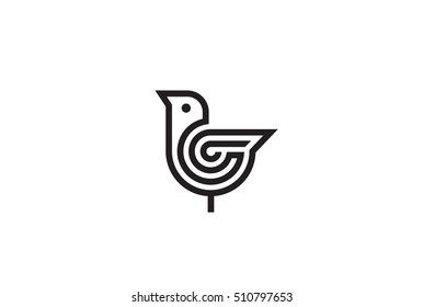 Bird Logo abstract design vector template Linear style. Luxury Fashion Logotype concept icon.