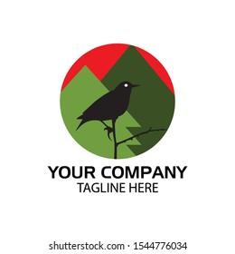 Bird logo in the circle. flat design. Bird silhouette. Vector Illustration on white background