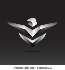 bird logo design with metal style . bird logo design template . silver hawk logo design inspiration . silver eagle logo design template . falcon icon