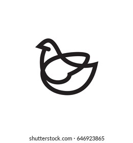Bird Logo design vector template linear style - Pigeon or Chicken Logotype concept outline icon.