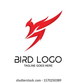 the bird logo forms the letter s. red color. background, icon, logo template. birds letter s