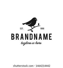 Bird logo hipster vintage retro vector icon illustration