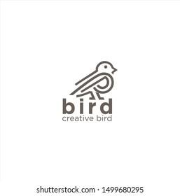 Bird Logo Icon Line Art Outline Template