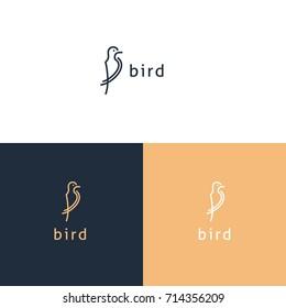 bird logo, line art, simple logo