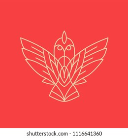Bird logo of lines on red background