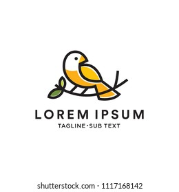 bird logo vector icon template monoline color line art outline