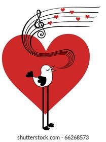 Bird in love singing love song