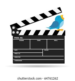 Bird with movie news on top of clapboard