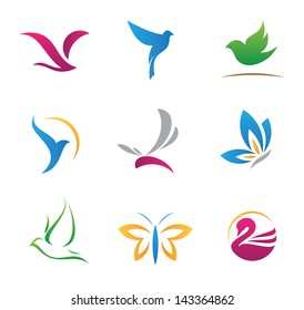 Bird nature flying rhythm mechanics symbols logo and icons