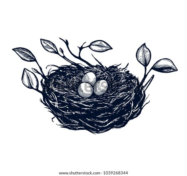 Bird nest with branches, egg card, hand drawn Isolated vector illustration. Eggs in a basket, rabbit, easter cake, willow branch, bird, easter eggs. Engraving
