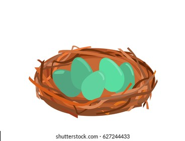 Bird nest with green Eggs and brown Twigs
