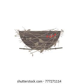 Bird nest icon. Cute Comic flat cartoon. Minimalism simplicity wildlife design. Birdhouse straw grass basket, tree branch. Birds home silhouette. Vector scavenging birdwatching card element background