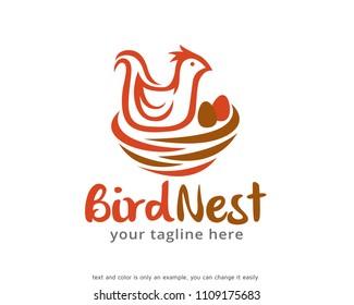 Bird Nest Logo Symbol Template Design Vector, Emblem, Design Concept, Creative Symbol, Icon