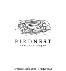 Bird nest logo template vector illustration