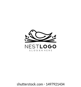 Bird nest logo vector icon template line art outline design