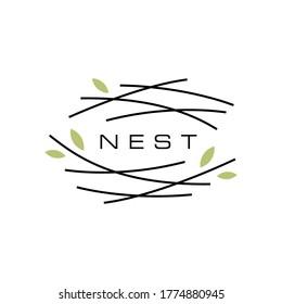 bird nest logo vector icon illustration