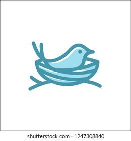 bird nest logo vector line art outline download monoline