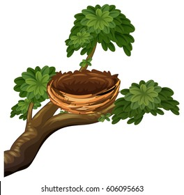 Bird nest on branches illustration