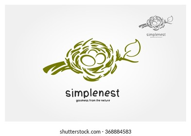 Bird nest on the tree branch. Spring is coming! Vector logo illustration