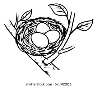 bird nest and three eggs / cartoon vector and illustration, black and white, hand drawn, sketch style, isolated on white background.
