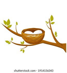 Bird nest with two eggs on branch with leaves isolated on white background. Springtime, cartoon bright, cute stock vector illustration. Closeup view, natural decoration, safety home.