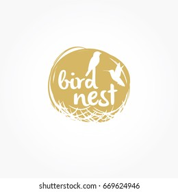 Bird Nest vector logo design.