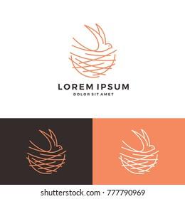 bird nest walet logo vector line art outline download monoline