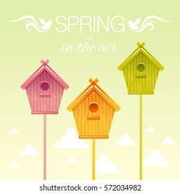Bird Nesting box birdhouse spring landscape vector illustration. Sunny sky, bird house square view. Text lettering flat logo with flying starling birds, clouds. Nature cartoon poster banner.