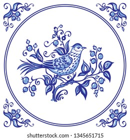 Bird on the bush with berries, decor or painting in the Dutch style, pattern for tiles and other designs. Traditional Delft flower ornament.