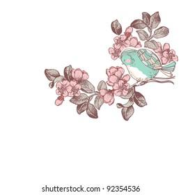 bird on a cherry blossom branch