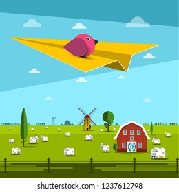 Bird on Paper Plane with Farm on Field on Background
