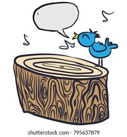 bird on a tree log with speech bubble cartoon illustration isolated on white