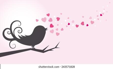 Bird on tree singing love song