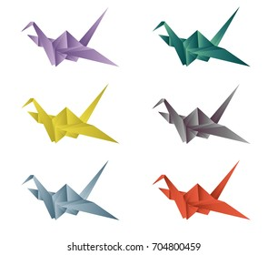 Bird origami vector set