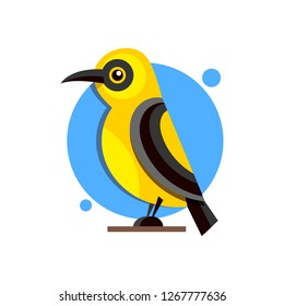 Bird Oriole on the branch flat style logo for design. Vector illustration.